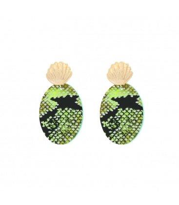 Groene slangenprint oorbellen in twee mooie neonkleuren