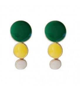 Mooie groen met geel en witte oorclips
