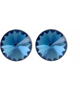 Oorsteker oorbellen met donkerblauwe Swarovski steen (12 mm)