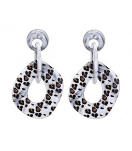 Trendy grijze oorbellen met marmerachtige leopard print