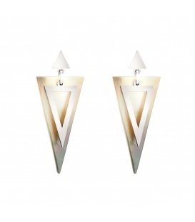 Zilverkleurige met parelmoer oorbellen in driehoeksvorm