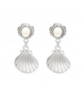Zilverkleurige zeeschelp oorbellen met parel