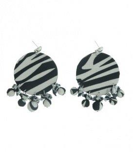 Zwart / witte oorbellen met rond element in zebra print