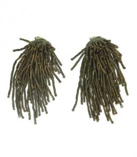 Brons kleurige oorclips met franjes en kralen