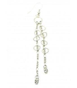 Langwerpige zilverkleurig oorbellen met ringen en kleine strass steentjes
