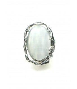 Zilverkleurige clip oorbellen met heldere natuursteen inleg