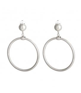 Zilverkleurige oorclips met ronde hanger