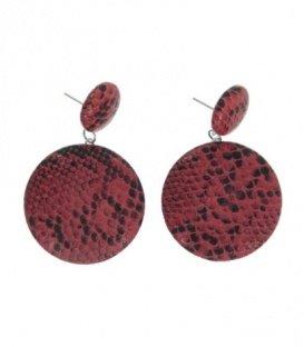 Rood gekleurde oorbellen met ronde hanger