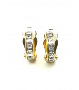 Goudkleurige halfronde oorclips met vierkant heldere strass steentjes