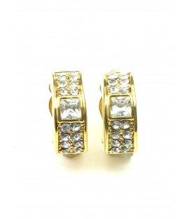 Mooie halfronde goudkleurige oorclips met heldere strass steentjes