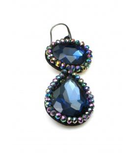 Mooie blauwe oorbellen met irriserende kralen rand