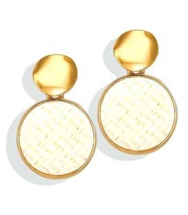 Goudkleurige oorbellen met witte inleg in de hanger