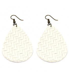 Witte oorbellen met ovale hanger in zigzag print