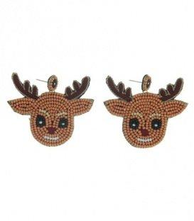 Licht-bruine oorbellen met als hanger een rendier