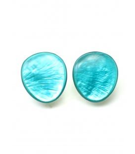 Turquoise parelmoer oorclips van culture mix