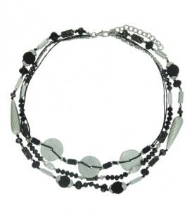 Zwarte korte kralen halsketting van 3 rijen met metalen elementen