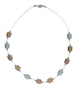 Goud&zilver&koperkleurige korte halsketting met cilinder metalen blokjes