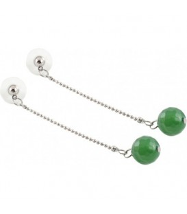 Groene oorbellen met natuursteen kraal