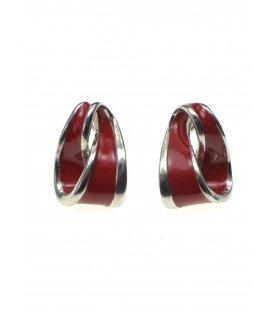 Rode oorbellen met zilverkleurige rand