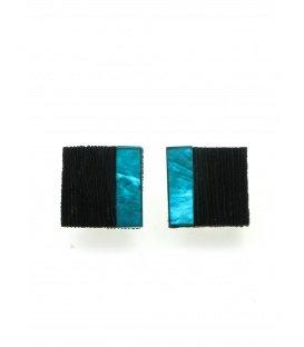 Vierkante mooie oorclips met groen en zwarte invulling