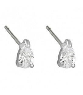 Zilverkleurige oorbellen met een heldere zirikonia steentje