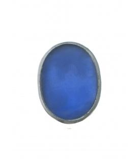 Culture Mix blauwe ovale oorclips met zilverkleurige rand