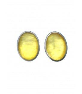 Culture Mix gele ovale oorclips met zilverkleurige rand