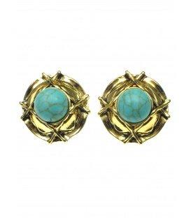 Ronde goudkleurige oorclips met blauwe natuursteen
