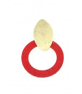 Oorclips met rode houten ring en goudkleurige clip