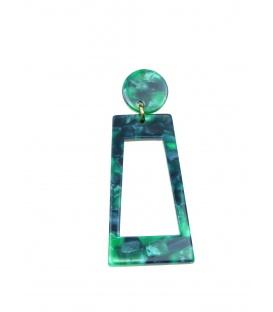 Groene langwerpige rechthoekige dunne acrylaat oorclips