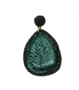 Groene ovale oorbellen met strass steentjes rand