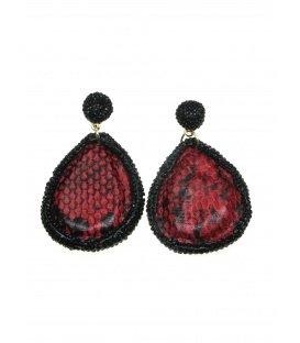 Rode ovale oorbellen met strass steentjes rand