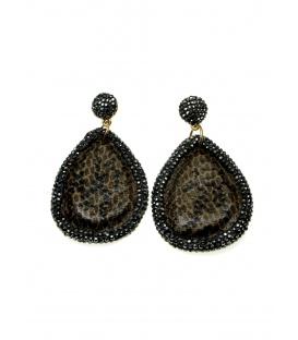 Bruine ovale oorbellen met strass steentjes rand