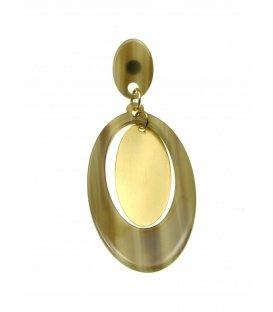 Ovale groen bruine oorbellen met goudkleurige hanger