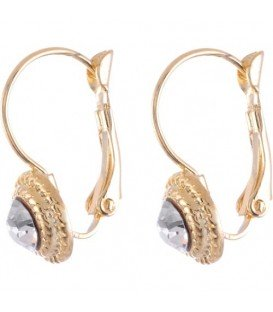Rose gold oorbellen met heldere Swarovski strassteen