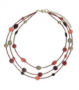 Rood gekleurde korte halsketting met een mix van kralen