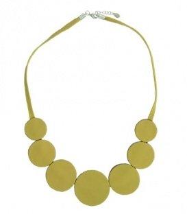 Gele korte halsketting van leer met 7 schijven