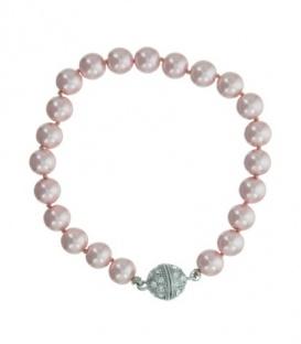 Licht - roze parel armband met magneet sluiting