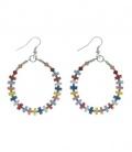 Gekleurde oorbellen met ring , pailletjes en kraaltjes
