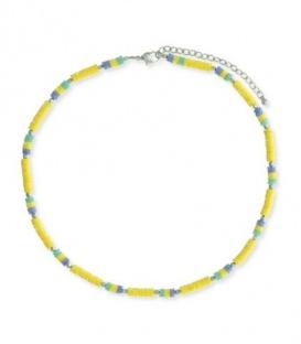 Halsketting met kleine pailletjes in gele , blauwe en groene kleur