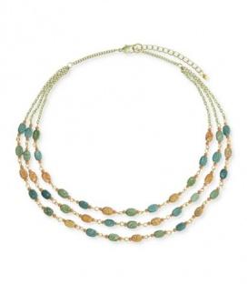 Groen gekleurde korte halsketting met kraaltjes