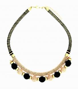 Zwarte met roze, goudkleurige gekleurde korte seedbeads kralen halsketting