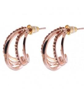Rose gold kleurige oorbellen met strass steentjes
