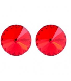 Rode oorbellen met swarovski steen (8mm)