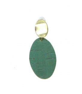 Goudkleurige oorclips met mintgroene ovale hanger van kurk