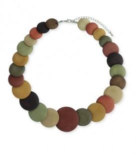 Mooie bruin gekleurde korte halsketting met ronde houten schijven