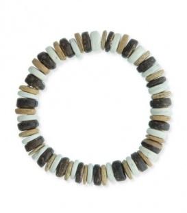 Bruin gekleurde armband van houten platte kralen