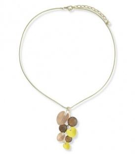 A-Zone korte halsketting met hanger in de kleuren geel,bruine en goud