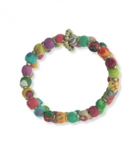 Gekleurde armband van 2 rijen met kralen met stof gewikkeld