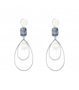Zilverkelurige oorbellen met een blauwe natuursteen en ovale hangers met zon
